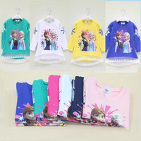 in stock Long Sleeve Frozen Children T Shirt 2014 Fall New Arrival Cartoon Printing Baby Girl Frozen T-shirts Kids Topwear Child Clothing.