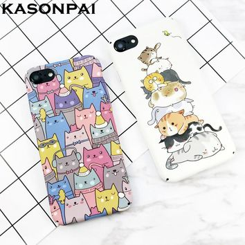 KASONPAI Cute Cartoon Cat Cases For iphone 6 7 Newest Fashion animal Cat Phone Cases For iphone 6S 7 7Plus Full protection Cover