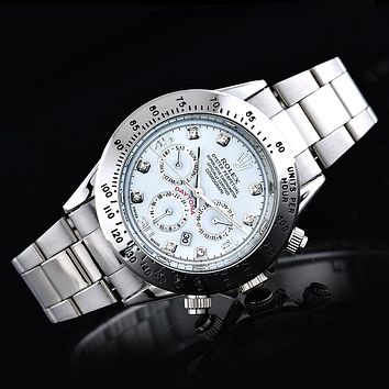 Rolex three fashionable tide brand watches F-SBHY-WSL Silver + silver case + white dial
