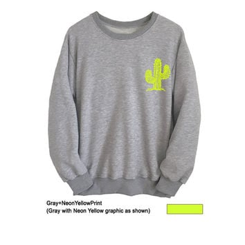 Cactus Shirt Tumblr Sweatshirts Crewneck College Funny Sweaters T-Shirts Mens Womens Long Sleeve Tee Top Fangirl Fashion Jumper