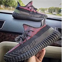 ADIDAS Yeezy Boost 350 V2 new couple luminous casual sneakers Black