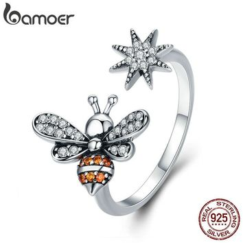 BAMOER 100% 925 Sterling Silver Bee with Snowflake Clear CZ Open Size Finger Rings for Women Wedding Engagement Jewelry SCR334