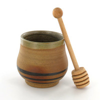 Gift for Rosh Hashanah / Ceramic Honey Pot with Dipper Stick / Pottery Honey Jar