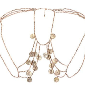 Coins Body Chain Layered Vintage Gold Tone Chest Piece Bib Statement Accessory HA10 Fashion Jewelry