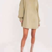 Sianna Sage Green Oversized Sweater Dress