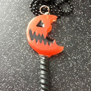 Trick R' Treat Lollipop / Sam's Lollipop / Pumpkin Sucker / Halloween Everyday / Halloween Jewelry / Scary Necklace / Spooky Halloween Resin