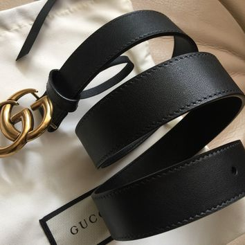 Authentic New Women Gucci Double GG Buckle Belt Size 80cm 25-28 Waist