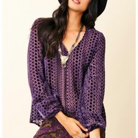 Blu Moon - Burnout V-Neck Bell Sleeve Top