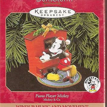 Licensed cool 1999 HALLMARK Disney Piano Player Mickey Mouse Music Movement Keepsake Ornament