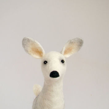 Ingberta - White Female Deer, Doe Art Puppet Marionette Stuffed Animal Felted Toy Deer. beige neutral cream pastel snow. MADE TO ORDER.