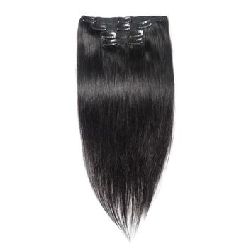 Jet Black 10pcs Straight Clip In Human Hair Extensions