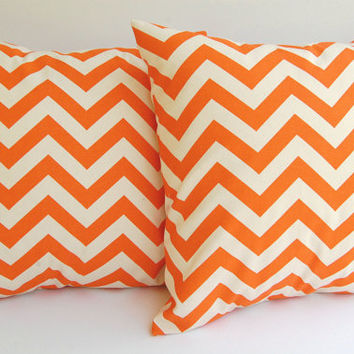 "Orange Chevron throw pillow covers set of two 16"" x 16"" Orange and Natural Chevron zig zag"