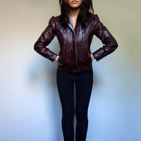 70s Leather Jacket Woman Slim Fit Coat Fall Fashion Wine Grey Colored Leather Jacket - Extra Small XXS / XS
