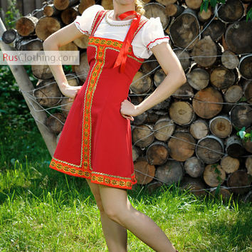 Russia dress, Red Sarafan, Russian costume, Slavic dress, Traditional costume, Ethnic Clothing, Russian blouse, Dance Costume Historical