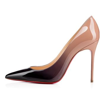 Decollete 554 100 Black-Nude Patent Leather - Women Shoes - Christian Louboutin