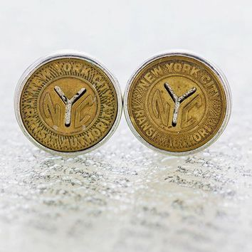 "Take The ""A"" Train • NYC Transit Token Cufflinks"