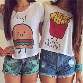 E185 New Casual Crop Tops Women 2015 Summer Round Neck Best Friends Print T Shirts Fashion Short Sleeve Printed Shirt Female