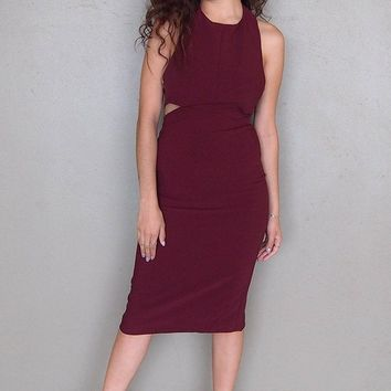 Body Language Tie-Back Burgundy Halter Bodycon Midi Dress