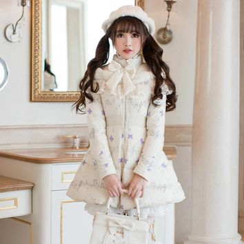 Princess sweet lolita parkas Candy rain Department sweet soft sister small slim long sleeved and long special parkas C22CD7302