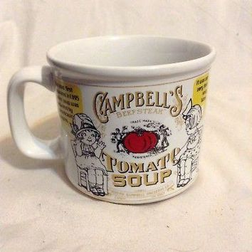 Campbells Soup mug Tomato 1999 Contemporary Red White label American cup 2pc lot