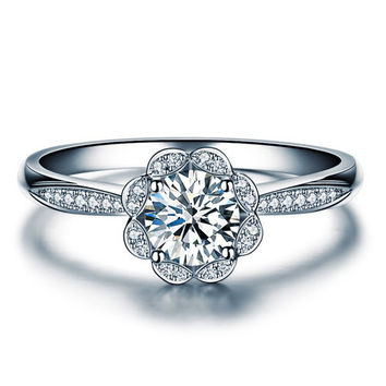 Round Shape Blossom Diamond Engagement Ring 950 Platinum Setting Art Deco Diamond Ring
