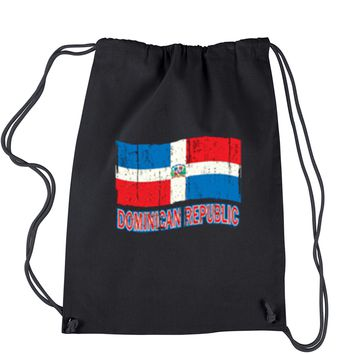 Dominican Republic Flag Drawstring Backpack