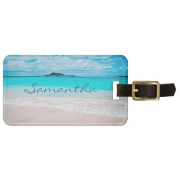 Aqua Hawaii beach photo custom name luggage tag