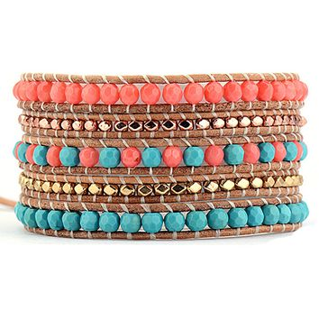 Coral and Turquoise 5 Wrap Bracelet-In Stock
