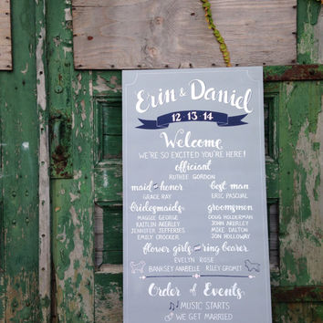 "Wedding Program sign | wedding signage | Custom Hand Drawn Chalkboard Sign | 24"" x 48"""