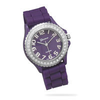 Purple Rubber Fashion Watch with Round Face