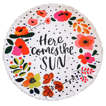 Here Comes The Sun Floral Round Beach Towel Roundie Blanket