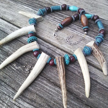 Men's Antler Necklace,Bone Necklace,Primitive Horn Necklace,Pagan Bone Jewelry,Tribal Leather necklace, Shaman Warrior Necklace,Deer Antler