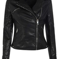 Mary Leather Look Biker Jacket