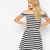 ASOS Bardot Skater Dress In Stripe