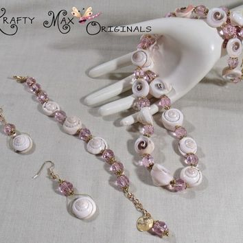 Shells, Czech Crystal and Gold Plated Findings - 3 Piece Necklace Set