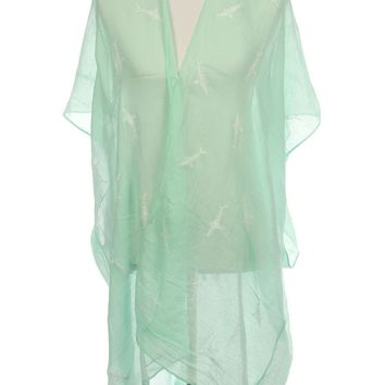 Mint Green Embroidered Shark Sheer Coverup Poncho