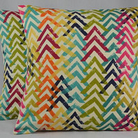 "Chevron Pillow Cover, Bright Colors, Geometric Pillow, Throw Pillow, Home Decor Pillow, Cushion Cover, Handmade Pillow - 16"" - PC36"