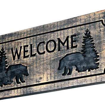 Rustic Wood Welcome Sign - Bear Welcome Sign - Carved Welcome Sign - Engraved Wood Sign