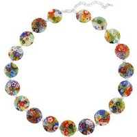 """Hand -Blown Multi-Colored Flat Round Disc Glass Bead and Sterling Silver Bead Necklace, 16+3"""" Extender"""
