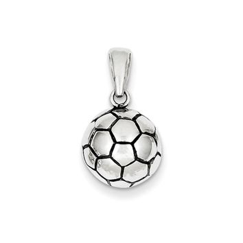 Sterling Silver 11mm Antiqued 3D Soccer Ball Pendant
