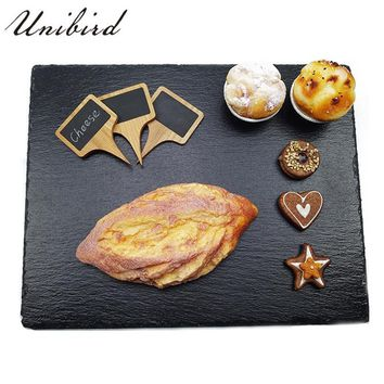 Unibird 1Pc Natural Slate Dishes Plate Solid Square/Round Stone Sushi Steak BBQ Fruit Dessert Pizza Flat Coffee Tea Dinner Tray