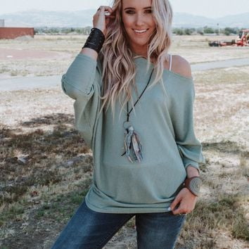 Make It Easy Waffle Knit Top - Sage