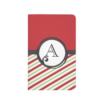 Red And Green Stripes With A Monogram In A Circle Journal