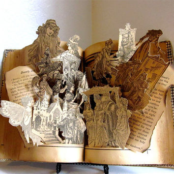 Repurposed Antique Altered Children's Book Beauty and the Beast and other Fairy Tales