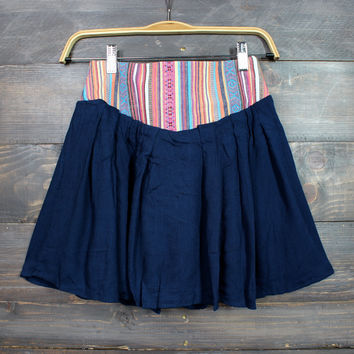 spanish dancer embroidered flowy skirt in navy