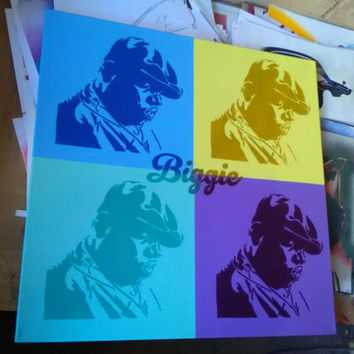 Biggie Smalls notorious b.i.g, Andy Warhol Pop art painting,hip hop,music,brooklyn,new york,america,graffiti,spray paint art,street art,king