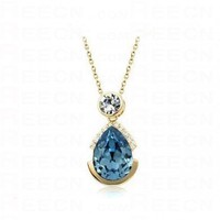 Blue Teardrop Austria Swarovski Crystal Bling Round Pendant Silver Necklace - Swarovski Necklaces - Necklaces - Jewelry