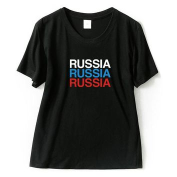 Russia Colored  Letters T-Shirt