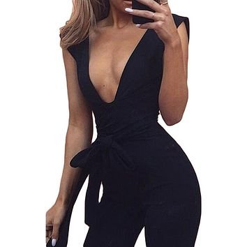 New Arrivals Bohemian  Black Deep V Fitted Bodycon Jumpsuit Nightclub For Women Romper Blue Burgunday Rosy