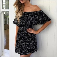 Sweet Short-Sleeved Black Dress